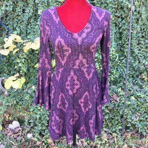 Alya Knitted Dress, V Neck, Long Bell Cuff Sleeves